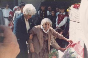 Lika Chopova Jurukova . Goce Delchev's granddaughter, in Skopje 1983 at Goce's tomb.