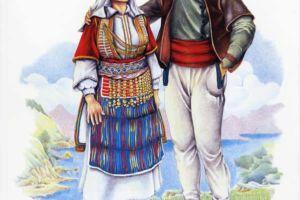 Man's and woman's costumes, Strushki Drimkol, village Labunista.