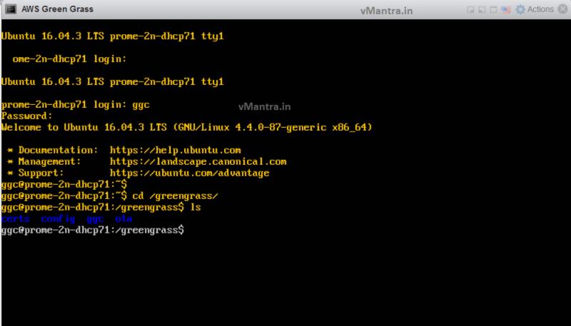 AWS Greengrass on VMware vSphere - GG Console