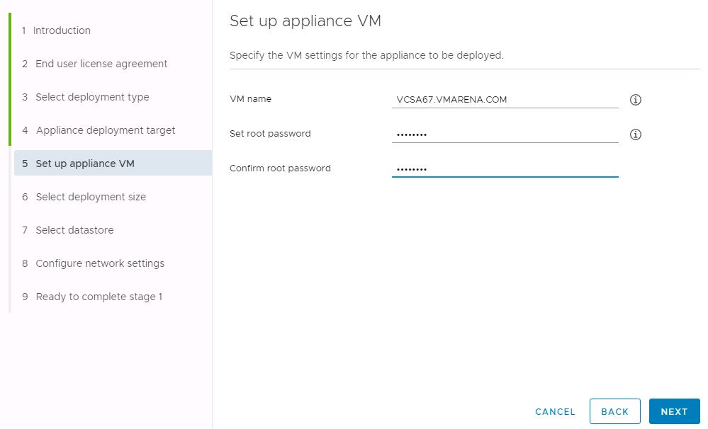 vCenter Server Appliance 6.7 Deployment with Embedded PSC