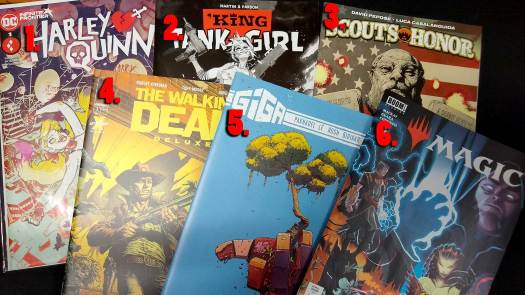 May 2021 Giveaway choices: Harley Quinn; Tank Girl; Scout's Honor; Walking Dead; Giga; Magic