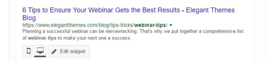 An example of a meta description with a highlighted keyword.