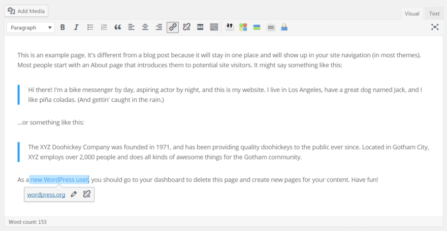 The new WordPress link boundaries features.
