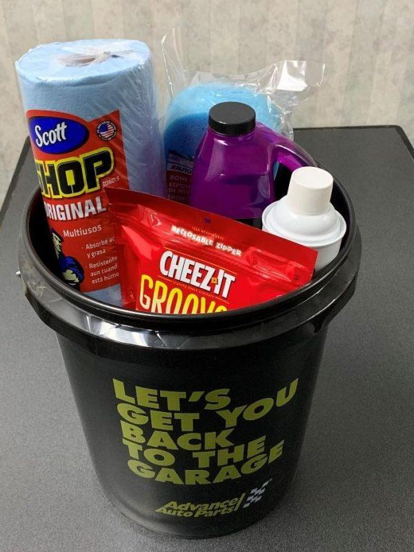 Bucket of Car Items & Snacks