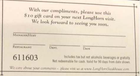 Gift Card - Longhorn Steakhouse