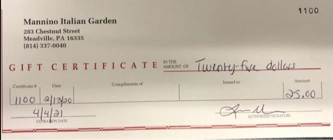 Gift Certificate - Mannino Italian Garden