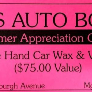 Cert. for Hand Car Wax and Vacuum