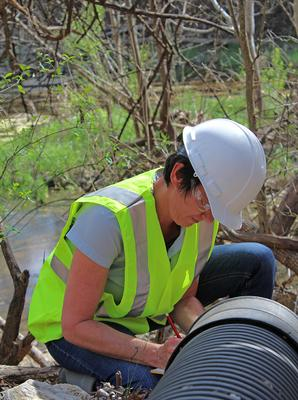 Vicki Mooney, Environmental Consultant, Testing Industrial Wastewater Discharge