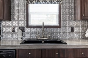 Tin, silver design backsplash