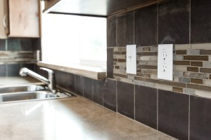 mixed backsplash