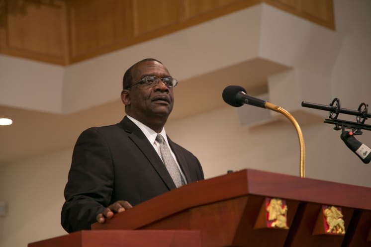 """Marvin Blanks, """"Orator of the Century,"""" performing the """"Fill Up the Jails"""" speech at White Rock Baptist Church, Durham, NC"""