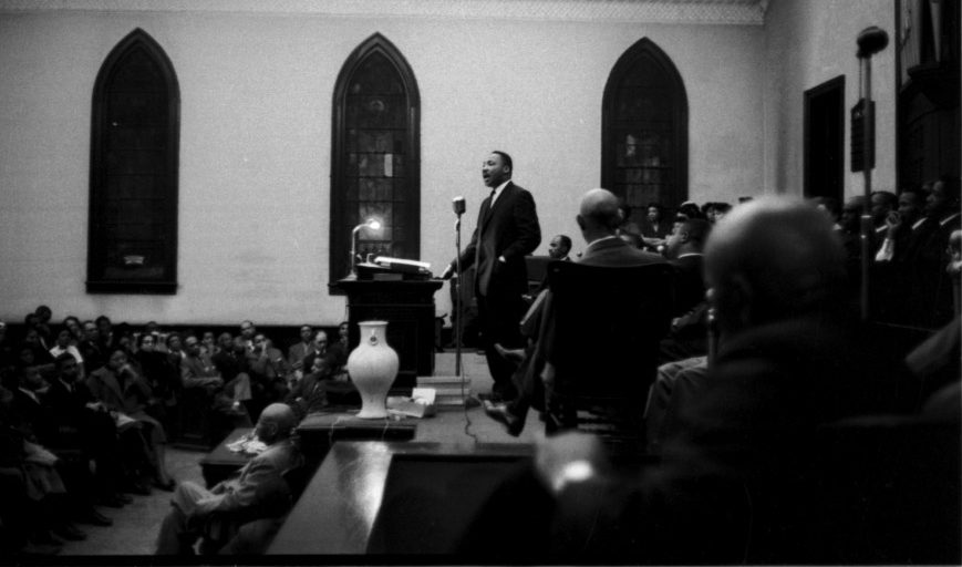 Photo of Reverend Martin Luther King, Jr. speaking at the White Rock Baptist Church