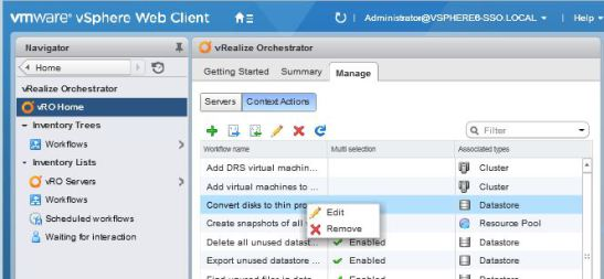 Using vRealize Orchestrator 7 0 Workflows from the vSphere