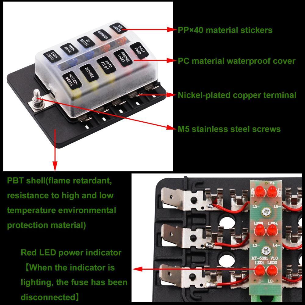 medium resolution of bn 10 way 12 32v car auto boat bus utv blade fuse box block cover