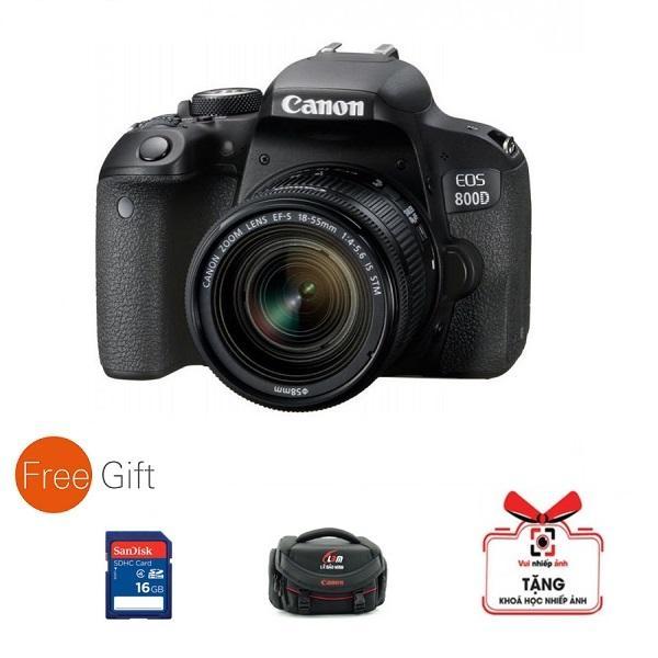 Máy ảnh Canon EOS 800D kèm lens 18-55mm ( Hàng Canon Lê Bảo Minh) - Tặng túi, thẻ 16G, khóa học nhiếp ảnh