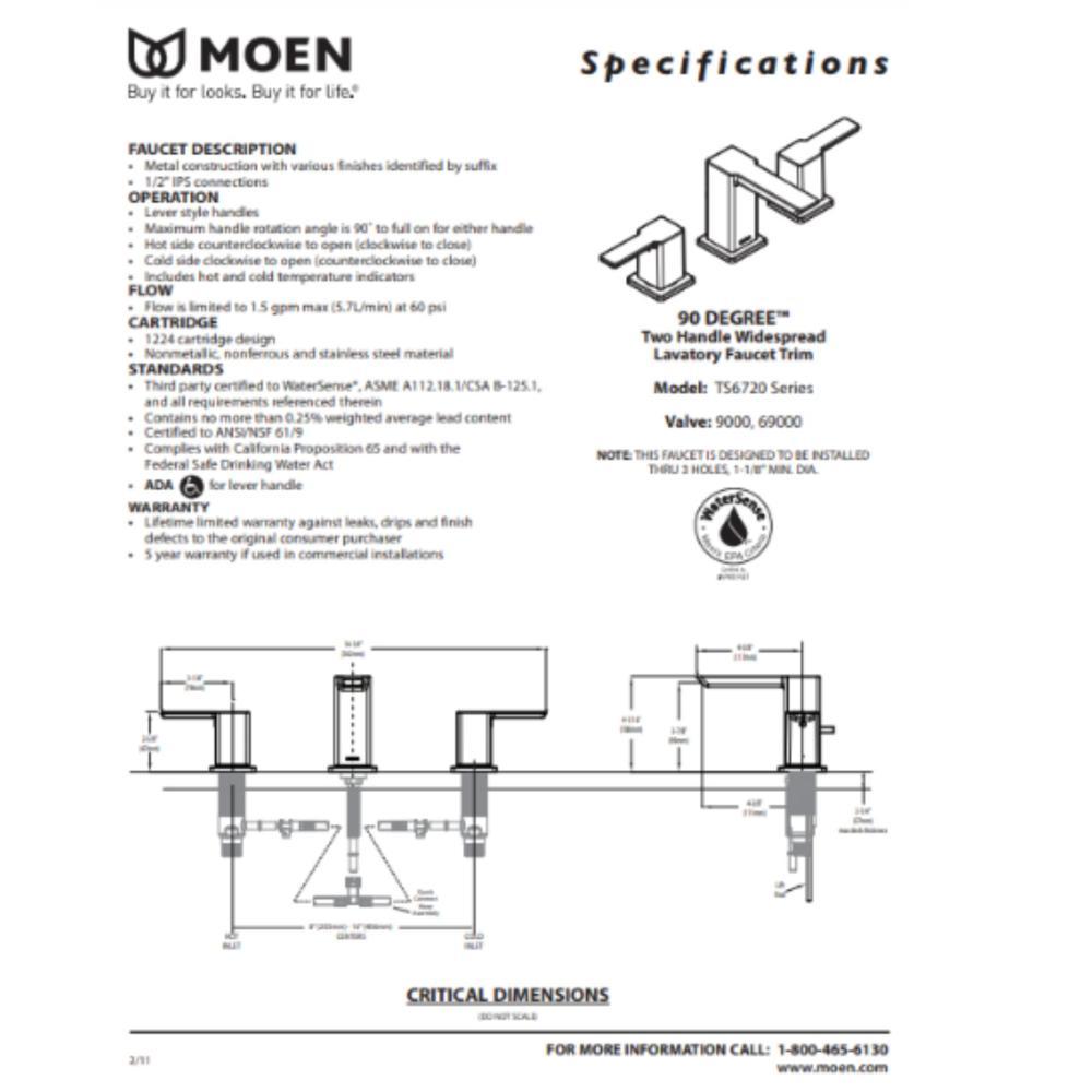 medium resolution of b v i lavabo moen 90 degree model ts6720
