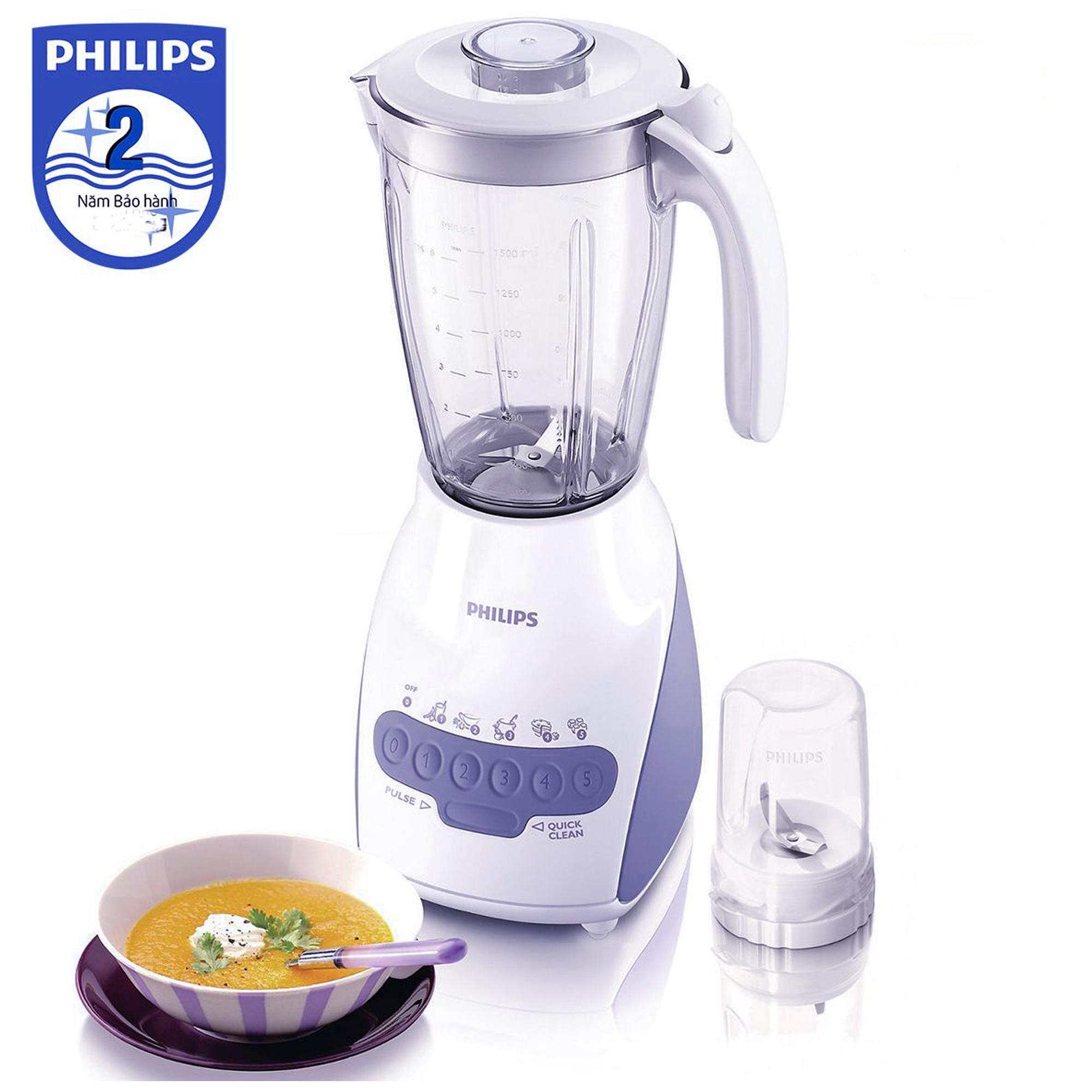 Máy xay sinh tố Philips HR2115 2L (Trắng) - Hàng nhập khẩu