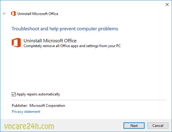 "Gỡ bỏ Office 2016 báo lỗi ""Error Code: 30180-4"""