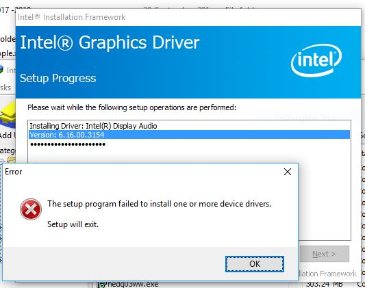 The setup program failed to install one or more device drivers