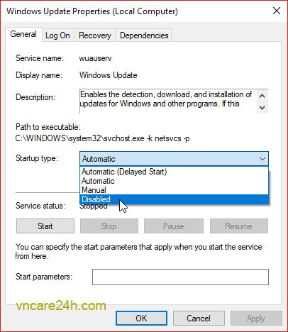 hướng dẫn tắt cập nhật Windows 10