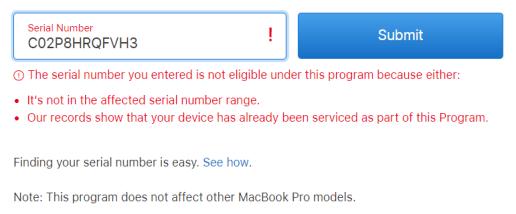 Macbook Pro Mid 2015 được thay thế pin miễn phí