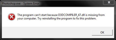 Photoshop 2019 D3DCOMPILER_47 is missing