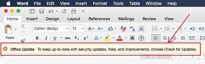 Tắt thông báo cập nhật Office 2016 for Mac
