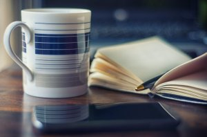 coffee, coffee mug, pen