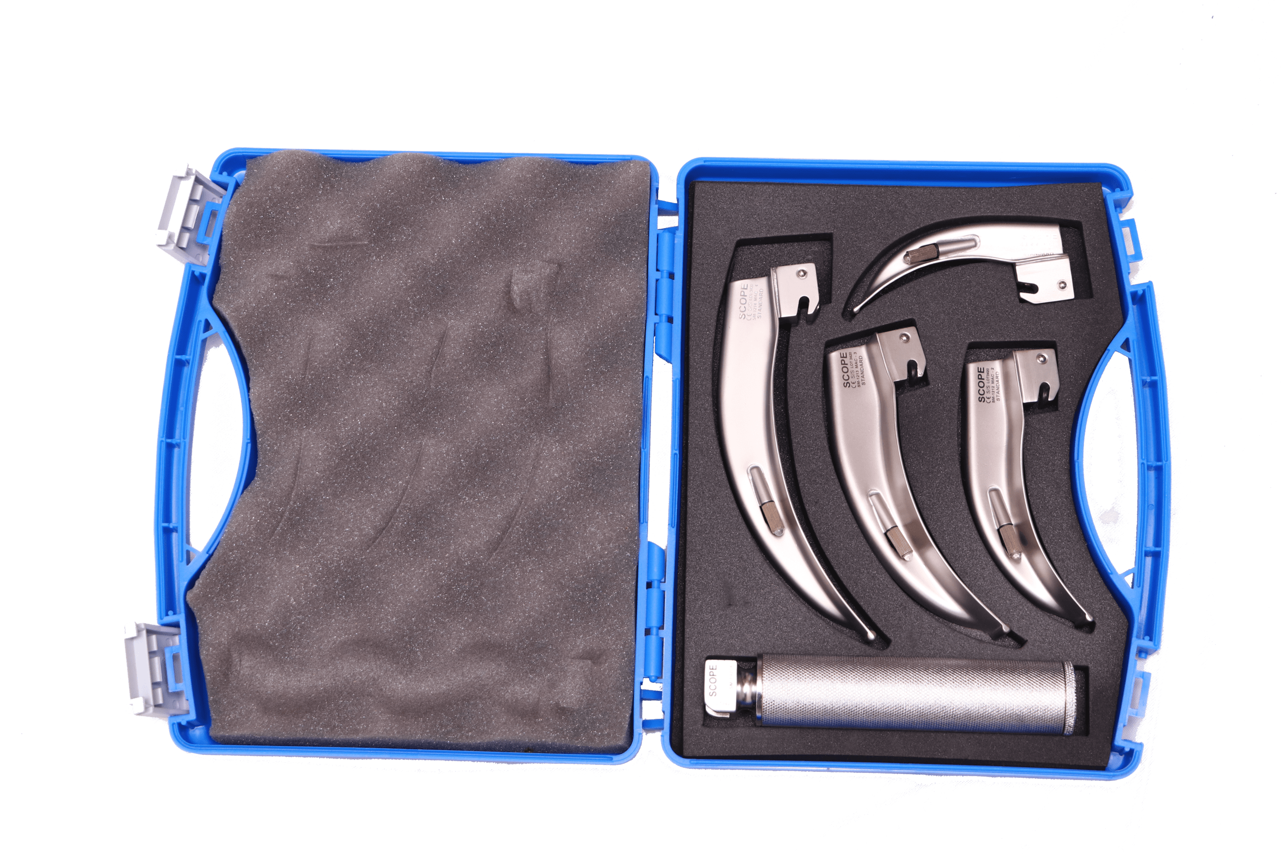 Laryngoscopy set is an endoscopy of the larynx, a part of the throat. It is a medical procedure that is used to obtain a view of the vocal folds and the glottis.