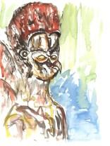 """Vogelmensch"", Valentino, 2011, 40 x 30 cm, Aquarell und Kohle auf Aquarellpapier"