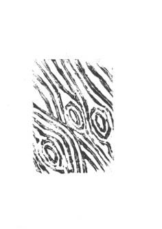 Beispiel 2: In der dargestellten Holzstruktur kann man auch die Verästelungen feiner Blattrippen erkennen: In den breiten schwarzen Linien verlaufen dünne weiße Kanäle. Oder sind es gar drei sich reckende Wesen mit aufgerissenen Mündern? Toll! Linolschnitt: Marcello