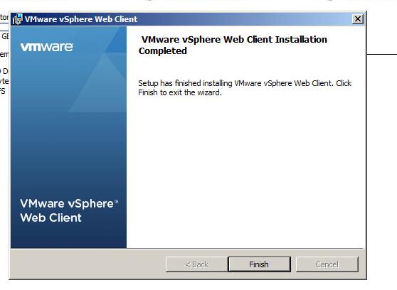 vsphere web client installation completion