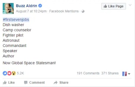 #firstsevenjobs of Buzz Aldrin