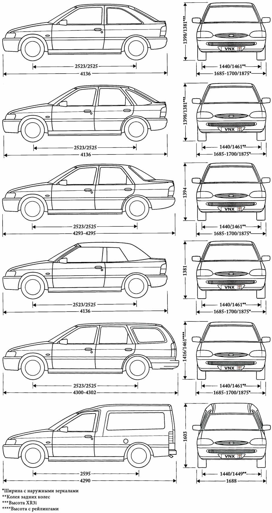 Ford Escort/Orion 1990-1999 цветные электрические схемы