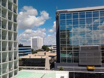 Looking from AT Ronwood Ave Parking Building back towards Manukau Civic Building
