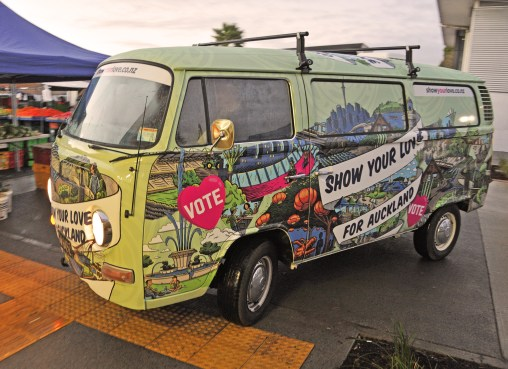 The Kombi is wrapped in the new eye-catching voter campaign look and feel Source: Auckland Council