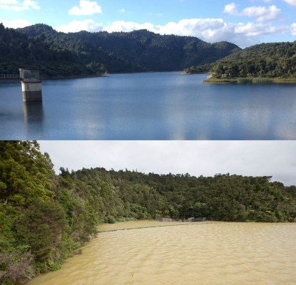Hunua Dams with and without silt Source: Watercare