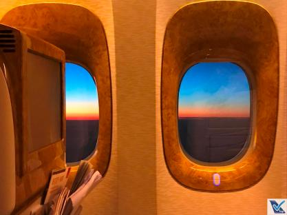 Janela B777 Por do Sol Emirates 3