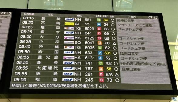 Haneda - Painel dos Voos