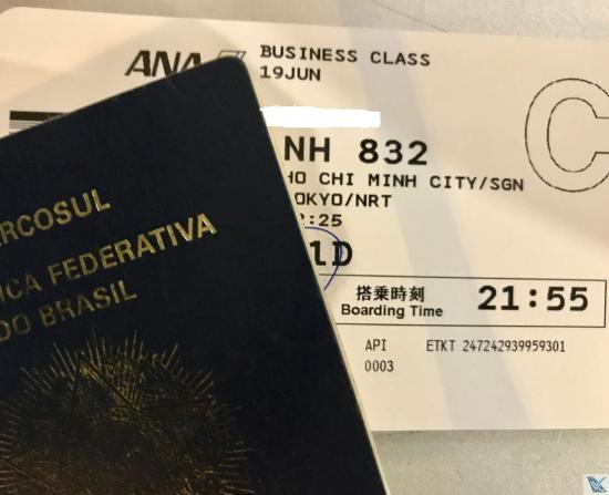 Passaporte + Cartão Embarque - ANA SGN NRT