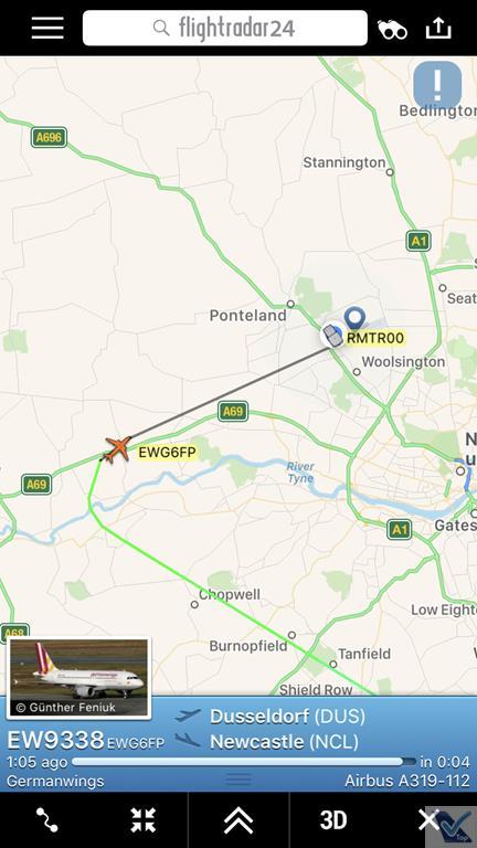 Flight Radar - Voo DUS NCL (3)