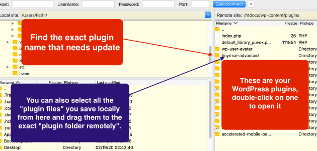 Updating plugin files with FTP