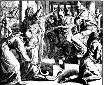Moisés e Arão perante Faraó, Arão transforma seu bordão em serpente