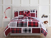 Red Black And White Plaid Bedding For Kids