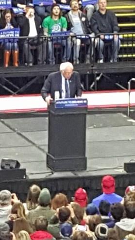 Bernie Sanders speaking at a campaign event at Floyd L. Maines Veterans Memorial Arena in downtown Binghamton, New York.