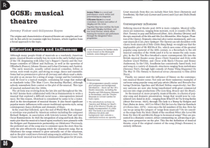 How Musical theater developed, a GCSE Article from Dr Gillyanne Kayes and Jeremy Fisher