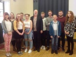 Jeremy with young musical theatre masterclass singers