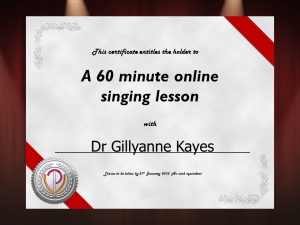 Vouchers for voice lessons with Gillyanne or Jeremy, online or in person