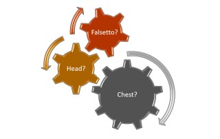 """Three interlocking cogs with the legends """"Falsetto"""", """"Head"""" and """"Chest"""""""