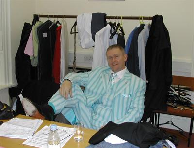 Ooh the glamour: tenor Richard Owen backstage in Alderney